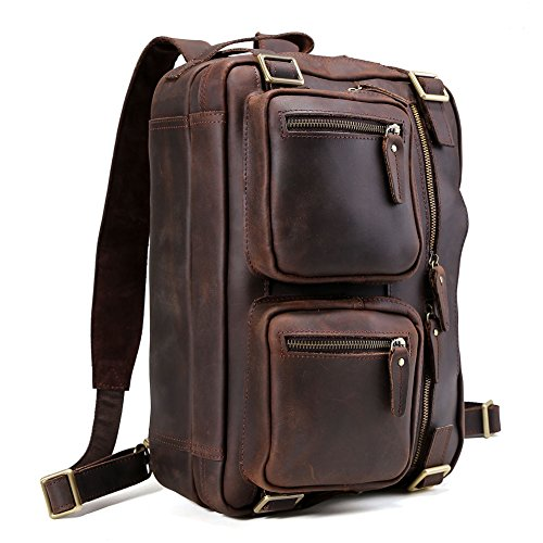 Expandable Leather Computer Backpack - 1