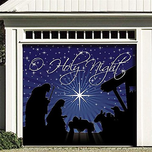 Outdoor Christmas Holiday Garage Door Banner Cover Mural Décoration - O'Holy Night Holiday Garage Door Banner Décor Sign 7'x8'