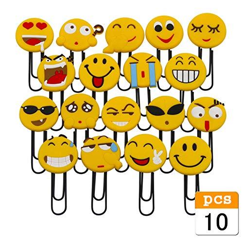 Bookmark Package - Cute Emoji Bookmarks, Funny Paperclip Bookmark, Novelty Emoticon Book Marker for Kids, Girls, Boys. School Student (Random 10PCS )