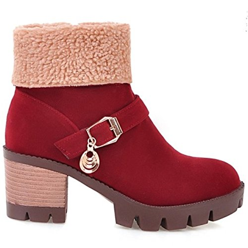 LongFengMa Snow Ankle Heel Square Women's Boots Red rIPqBr