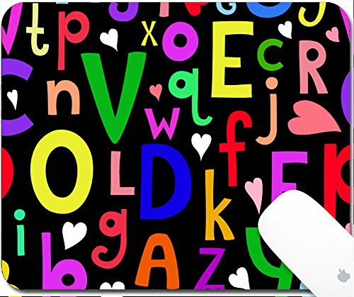 Luxlady Gaming Mousepad 9.25in X 7.25in IMAGE: 33728984 Vector seamless pattern with Latin letters of different sizes on dark background in a cartoon style children s illustration with alphabet
