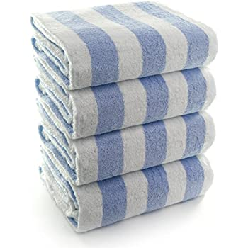 INDULGE Large Beach and Pool Towel, Cabana Stripe, 100% Turkish Cotton (30x60 inches, Blue, Set of 4)
