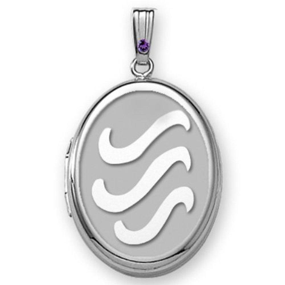 Sterling Silver H2O Oval Locket 5/8 inch x 3/4 inch Sterling Silver