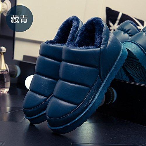 Fankou autunno e inverno pantofole di cotone borsa con il giovane home impermeabile anti-skid spessa caldo uomini e donne pantofole inverno, 41-42 adatto 40-41, blu scuro