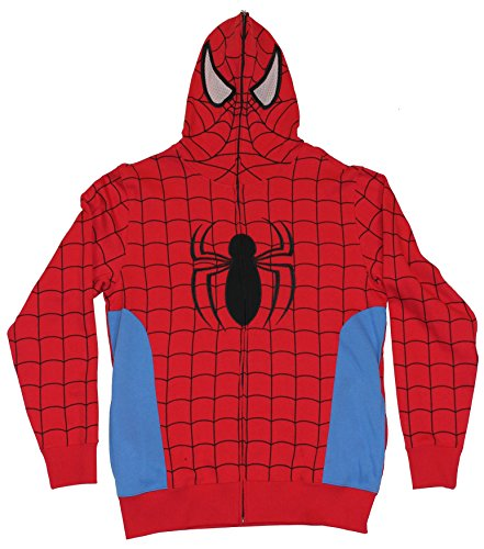 Spider-Man (Marvel Comics) Mens Hoodie Sweatshirt - Classic Red Blue Costume (Large) Red