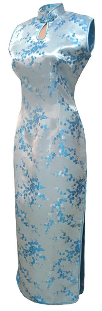 7Fairy Women's Light Blue Keyhole Long Chinese Party Dress Cheongsam Size 12 US