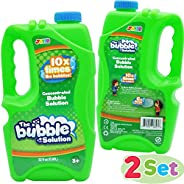 JOYIN 2 Refill Bubble Solutions; (up to 5 Gallon) Big Bubble Solution 64 Ounce Concentrated Solution for Bubbl