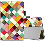 Infiland All-New Fire HD 8 Tablet Case - Premium PU Leather Folio Stand Cover Case with Auto Wake / Sleep for All-New Fire HD 8 (7th Generation, 2017 release), Color Diamond