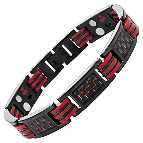 Red Carbon Fiber Titanium Magnetic 4 Element Bracelet Double Strength Adjusting Tool and Gift Box Included By Willis Judd ()