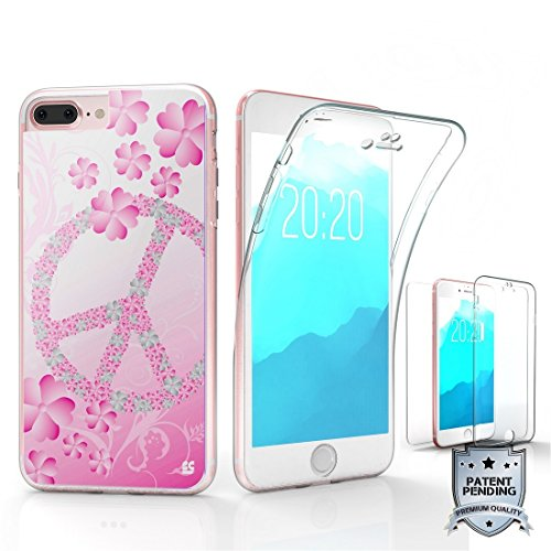 Iphone 8 Plus, Iphone 7 Plus Case, Trishield Gear [Trimax] Ultra Slim Transparent Clear Hybrid Scratch Resistance With Built In Screen Protector Flexible Gel Cover - Flower Peace Sign