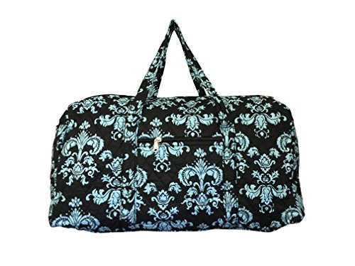 Personalized Tote Overnight Bag (Bohemian Prints Quilted Large 22 inch Duffle Bag (Personalized Damask Blue Black))