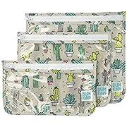 Bumkins Reusable Clear Travel Bag 3 Pack, Cacti