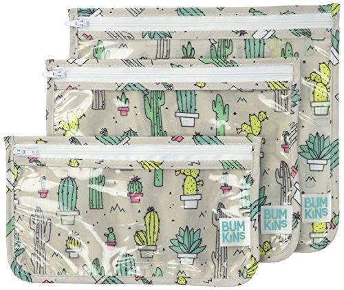 Bumkins Reusable Clear Travel Bag 3 Pack, Cacti ()