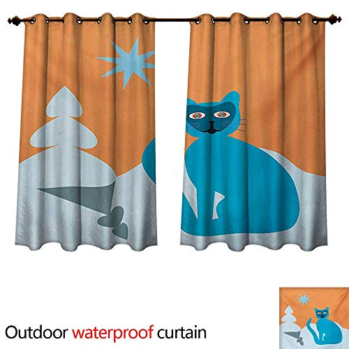 (WilliamsDecor Psychedelic Outdoor Curtain for Patio Cat with Racoon Mask in Snow Scenery with Spruce Under Sky with Star Artwork W55 x L45(140cm x 115cm))