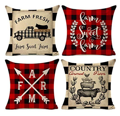 (Kithomer Buffalo Plaids Vintage Farmhouse Farm Sweet Farm Pillow Covers Country Animal Farm Rooster Pig Cow Cotton Linen Throw Pillow Case Cushion Cover 18