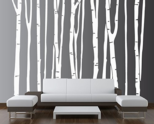 Innovative Stencils 1109 96 white Large Wall Birch Tree Decal Forest Kids Vinyl Removable Sticker , 9-Trees - Birch Trees Vinyl
