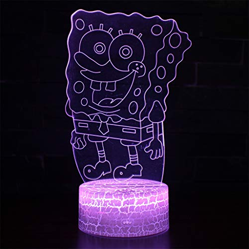 Spongebob 3D Night Light LED Stereo USB Visual Table Lamp Valentine's Day Creative Birthday Gift ()