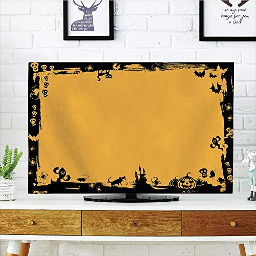 iPrint LCD TV dust Cover Customizable,Halloween,Black Framework Borders with Halloween Icons Cats Bats Skulls Ghosts Spiders Decorative,Yellow Black,Graph Customization Design Compatible 32