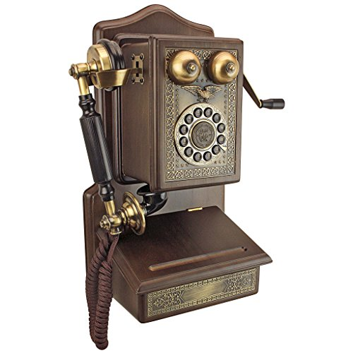 Design Toscano Antique Country Kitchen 1907 Rotary Wall Corded Retro Phone - Vintage Decorative Telephones, one Size, woodtone