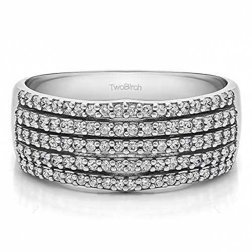 Sterling Silver White Sapphire .5 CT Multi Row Shared Prong Ring (Size 3 To 15 1/4 Size Interval)