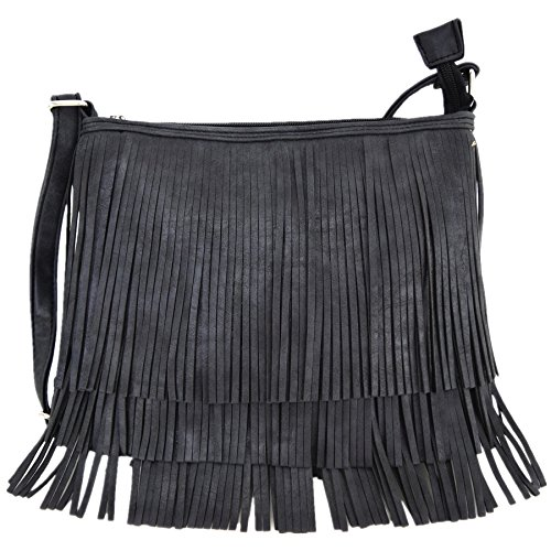 Western Cowgirl Style Fringe Cross Body Handbags Concealed Carry Purse Country Women Single Shoulder Bags (Black)