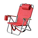 Outsunny Adjustable Folding Beach Chair Outdoor Camping Hiking Backpack Seat with Pillow and Storage (Red)