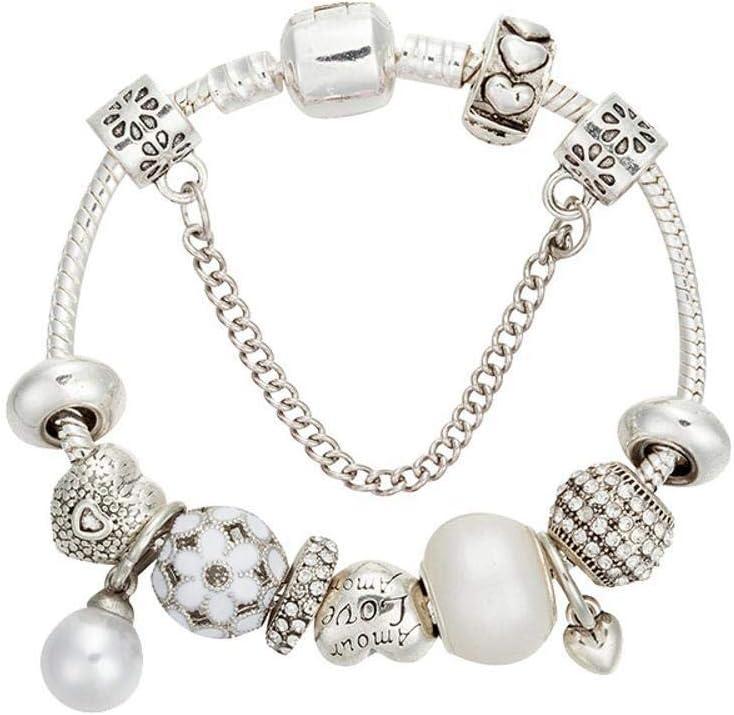 WENEWU Pulsera,en Forma de corazón con Cuentas de Perla Plata Antigua aleación con Diamantes Piedras Preciosas