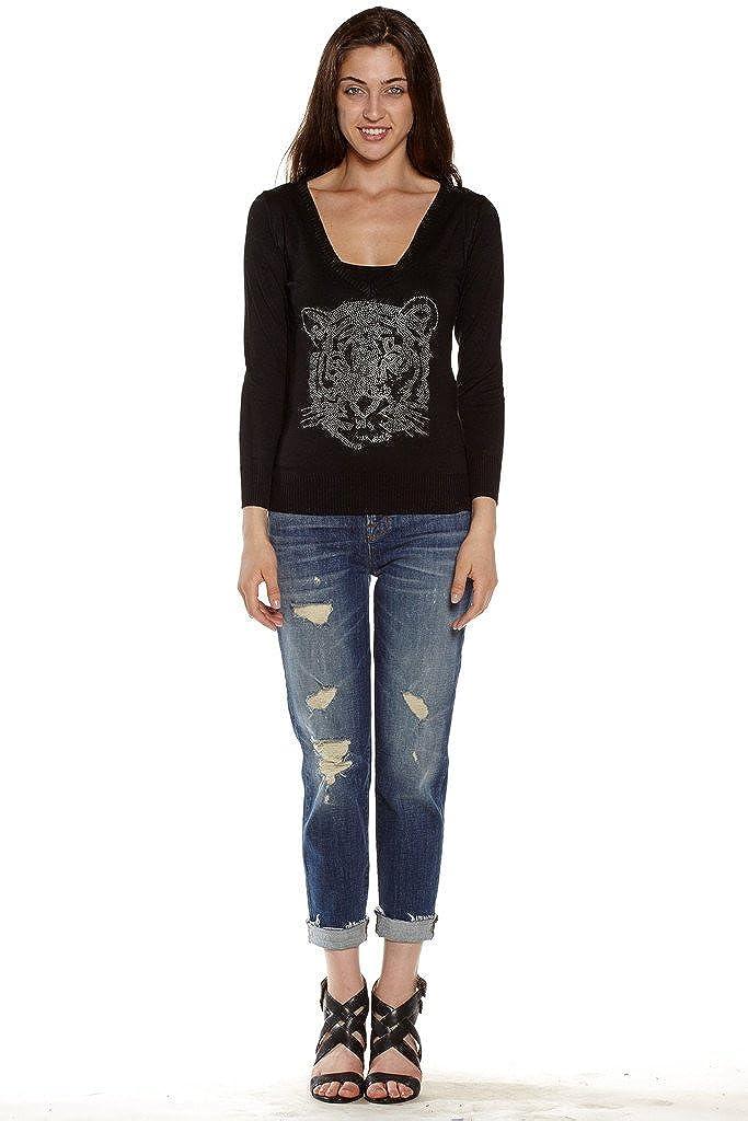 Dinamit Juniors Cotton Long Sleeve Studded Tiger Face V-Neck Sweater Black S M