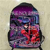 Pinkdose® N, 10Inch : Marinette Backpacks Anime Printing School Bag Miraculous Ladybug Backpack Cat Noir for Children Girls Kids Book Bag Lunch Box
