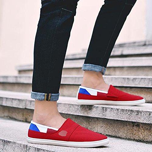 tendenza da Size da ginnastica Gray YaNanHome di Color uomo casual basse Scarpe Red uomo tela Espadrillas Scarpe da traspirante scarpe 43 stile coreano qZq8ROw