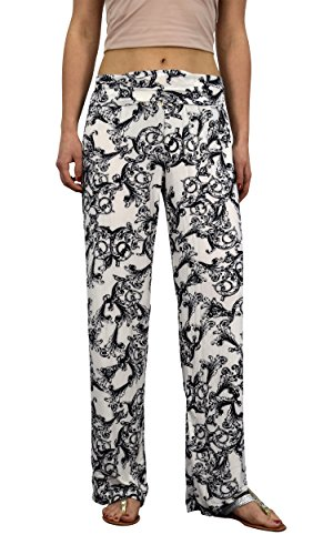 Peach Couture Womens colorful Pattern Elastic Waist Printed Palazzo Pants Floral White ()