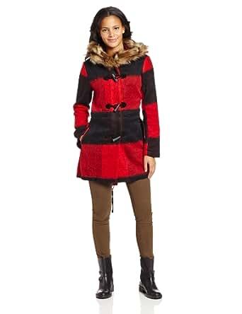 BB Dakota Women's Iris Buffalo Plaid and Coyote Fur Hood Coat, Black, X-Small