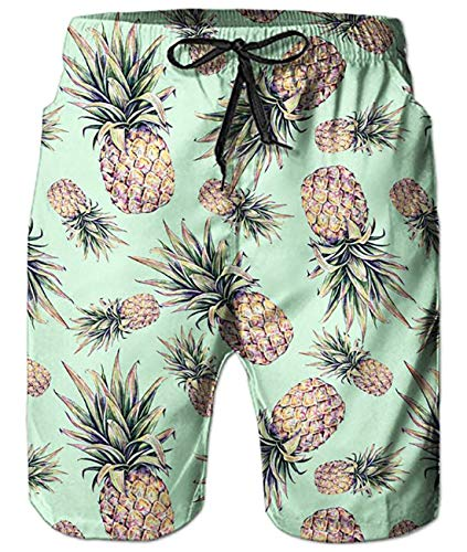 (Uideazone Mens 3D Hawaiian Print Short Funny Lounge Wear Pants Summer Casual Vacation Jogger Surfing Trunks)