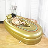 Sunhai& Inflatable Bathtub Thicker Adult Bathtub Folding Bathtub Child Inflated Swimming Pool Environmental Protection PVC ( Color : Gold )