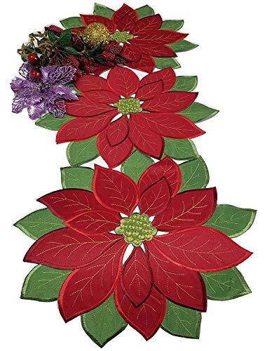 - Holiday Christmas Applique Poinsettia Red Green Embroidered Christmas Flower Table Runner for Home Dinner Xmas Table Top Decorations,14