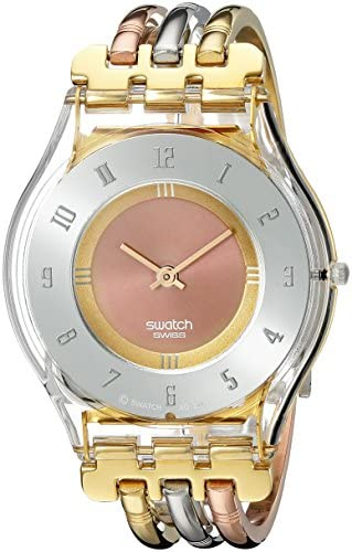 Swatch Ladies Tri Gold Stainless Steel Bracelet Watch Amazon Co Uk Watches