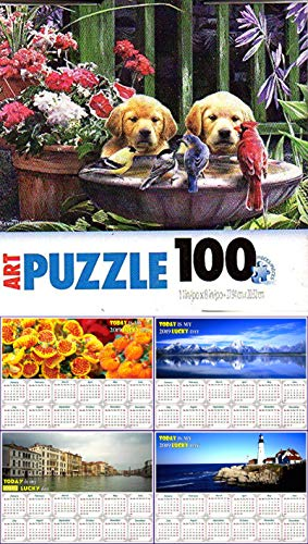 Pelican Bath Toy - Birds in Bath - 100 Pieces Jigsaw Art Puzzle + Free Bonus 2019 Magnetic Calendar - Bundle - 2 Items