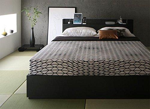 コンセント付収納ベッド (セミダブル/ブラック) プレミアムボンネルコイルマットレス:ブラック付きセット【AC068094】 B078MQ4NSW フレームカラー:ブラック セミダブル/プレミアムボンネルコイルマットレス:ブラック