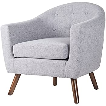 This Item Merax Stylish Upholstered Button Tufted Fabric Leisure Living Room Accent Chair With Armrest And Bonus Soft Seat Cushion Grey