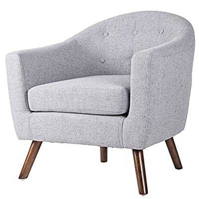 Merax PP036418EAA Living Room Accent Chair with Armrest and Bonus Soft Seat Cushion - Button tufted curved backrest offers a classy traditional appearance High quality fabric cover for high durability and easy spot cleaning and maintenance Spacious seat with thick and soft cushion & padded armrests for enhanced comfort - living-room-furniture, living-room, accent-chairs - 51LrbJd6ahL. SS400  -