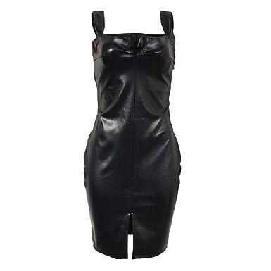 efbca3f5e8ac63 MDOUWoo Summer Sexy Bandage Dress Women Vintage PU Leather Sleeveless  Bodycon Dress Sexy Club Party Dress
