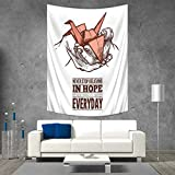 Anhuthree Hope Tapestry Wall Tapestry Hands Holding an Origami Crane with a Miracles Happen Everyday Quote Art Wall Decor 51W x 60L INCH Pale Orange Brown White