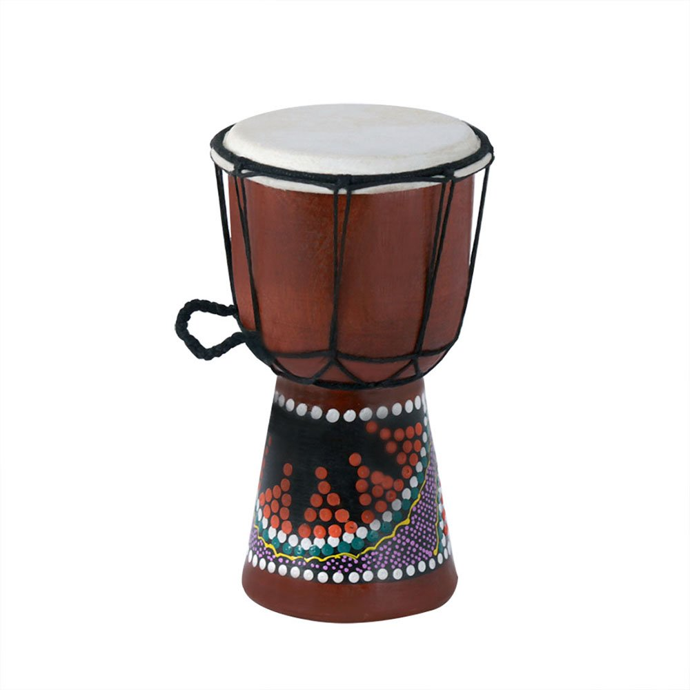 Muslady Wooden African Drum Djembe Bongo 4 inch Compact Size Hand Drum Percussion Musical Instrument with Colorful Pattern (Patterns Random Delivery) by Muslady