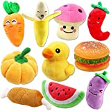 #6: Plush Vegetable Dog Toy Set for Puppy, Squeaky Dog Toys 10 Pack Cute Stuffed Fruits and Vegetables Dog Toys for Small Dogs