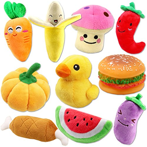 51LrbaOOL5L - Plush Vegetable Dog Toy Set for Puppy, Squeaky Dog Toys 10 Pack Cute Stuffed Fruits and Vegetables Dog Toys for Small Dogs