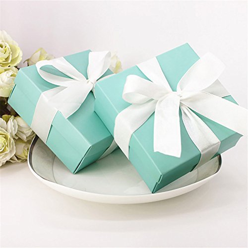 10 pcs Tiffany Blue/Gold Paper Box Gift Box +Ribbon For Baby Shower Valentine's day Wedding Favors Gift Package Candy Box Supplies