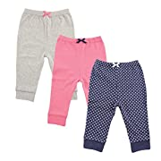 Luvable Friends 3 Pack Tapered Ankle Pants, Navy Polka DoT 0-3 Months