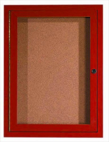 Aluminum Wall Mounted Enclosed Bulletin Board Frame Color: Cherry Wood, Number of Doors: One, Size: 36