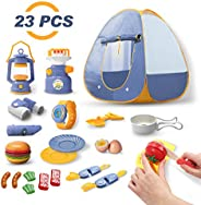 DEERC Kids Camping Tent Set Toys 23pcs Includes Pop Up Play Tent, Camping Gear Tools Adventure Set, Play Kitch