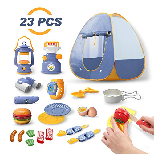 🥇 DEERC Kids Camping Tent Set Toys 23pcs Includes Pop Up Play Tent